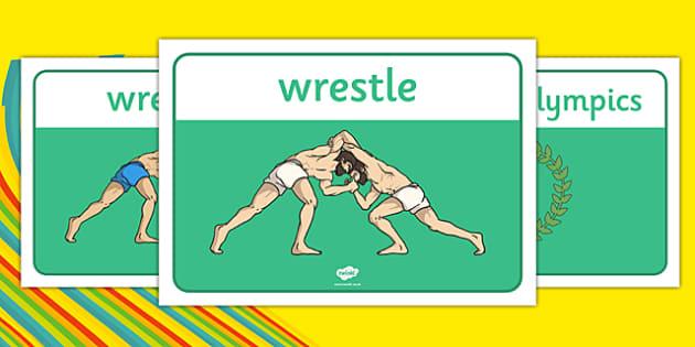 Rio 2016 Olympics Greco Roman Wresting Display Poster - rio 2016, rio olympics, 2016 olympics, greco-roman, wrestling, display poster