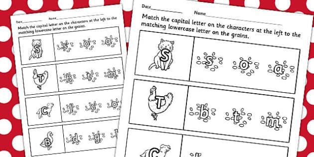 The Little Red Hen Themed Capital Letter Matching Worksheet - hen