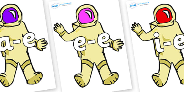 Modifying E Letters on Astronauts - Modifying E, letters, modify, Phase 5, Phase five, alternative spellings for phonemes, DfES letters and Sounds