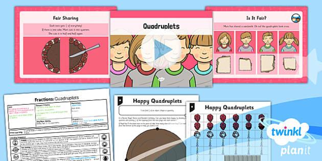 PlanIt Y1 Fractions Lesson Pack Quarters (3) - planit, fractions, year 1, maths, lesson pack, quarters, 3