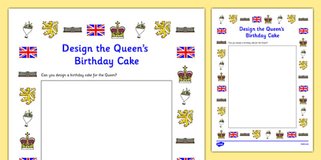 Design the Queen's Birthday Cake Activity Sheet, worksheet