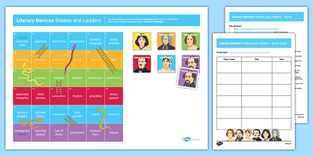 Literary Devices Snakes and Ladders Game Pack - literary devices, snakes, ladders, game pack, pack
