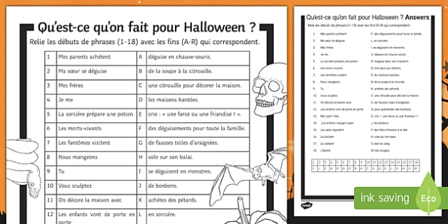 Halloween Present Tense Match Up Activity Sheet-French, worksheet