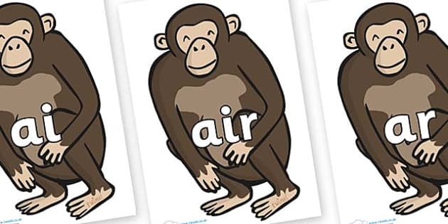 Phase 3 Phonemes on Chimps - Phonemes, phoneme, Phase 3, Phase three, Foundation, Literacy, Letters and Sounds, DfES, display