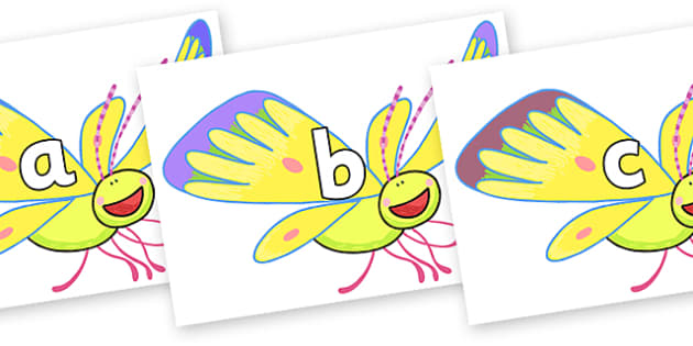 Phase 2 Phonemes on Yellow Butterfly to Support Teaching on The Crunching Munching Caterpillar - Phonemes, phoneme, Phase 2, Phase two, Foundation, Literacy, Letters and Sounds, DfES, display