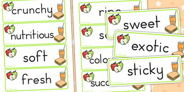 Fruit and Vegetable Descriptive Word Cards - healthy eating, food