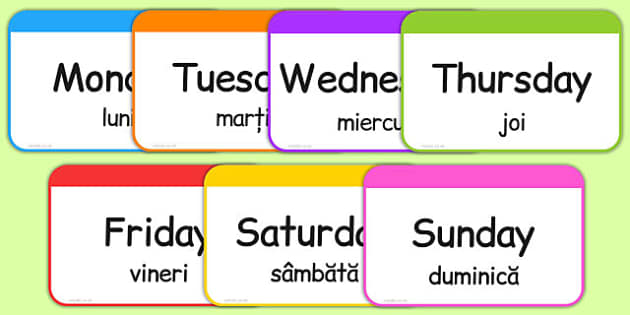 Days of the Week Flashcards Romanian Translation - romanian, days, week, flashcards, flash cards