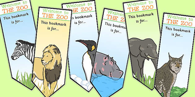 Zoo Animal Bookmarks - zoo, animal, bookmarks, marks, books