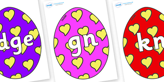 Silent Letters on Easter Eggs (Hearts) - Silent Letters, silent letter, letter blend, consonant, consonants, digraph, trigraph, A-Z letters, literacy, alphabet, letters, alternative sounds