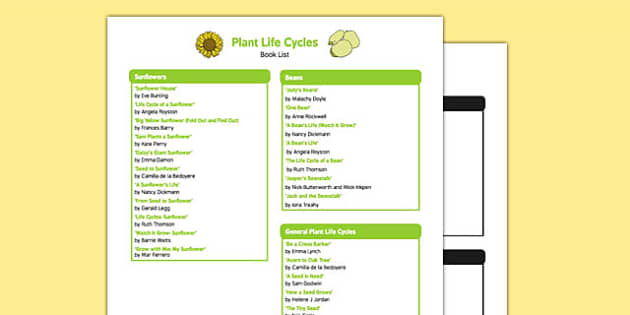 Plant Life Cycles Book List - EYFS, Early years, stories, non-fiction, Understanding the World, growing, seeds, sunflowers, beans, beanstalk