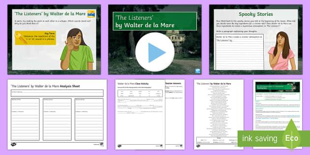Into The Unknown Lesson Pack 16 'The Listeners' Lesson Pack - Into The Unknown, The Listeners, narrative poem, Walter de la Mare, atmopshere, pre-1914 literature.