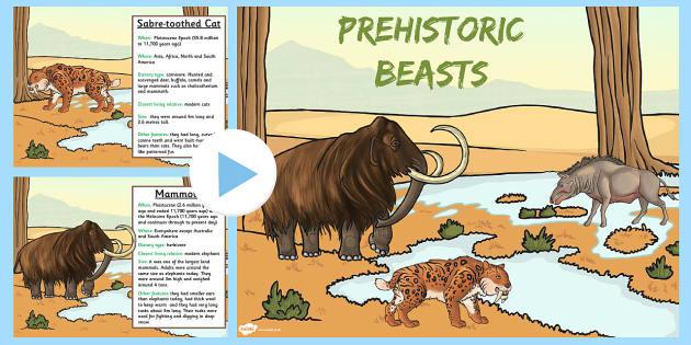 Prehistoric Beasts Information PowerPoint - dinosaurs, prompt