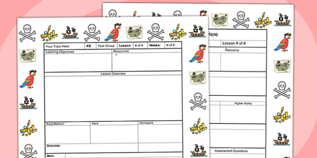 Pirates Themed Editable Individual Lesson Plan Template - plans