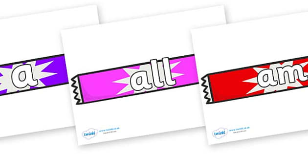 Foundation Stage 2 Keywords on Candy Bars - FS2, CLL, keywords, Communication language and literacy,  Display, Key words, high frequency words, foundation stage literacy, DfES Letters and Sounds, Letters and Sounds, spelling
