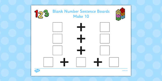Blank Number Sentence Boards to 10 Make 10 - sentence boards