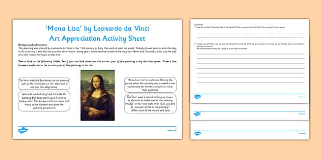 Mona Lisa by Da Vinci Art Appreciation Activity Sheet - Mona Lisa, Da Vinci, artist, art, activity sheet, Italy, worksheet