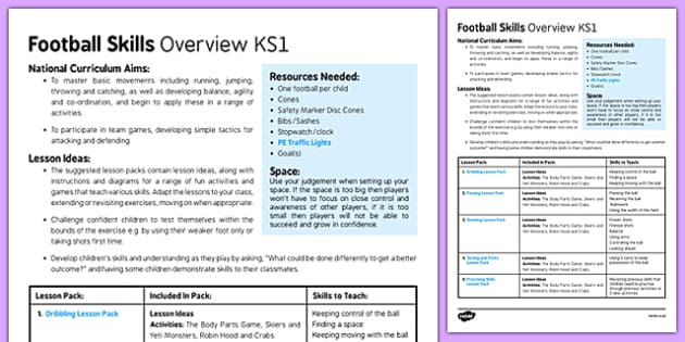 Football Skills Overview KS1 - football, PE, sport, exercise, KS1, year 1, year 2, skills, physical education, ball skills, team sports