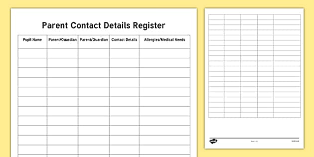 ROI Teacher Parent Contact Details Checklist-Irish