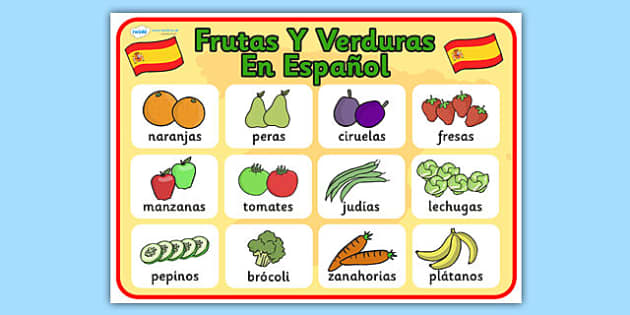Spanish Fruit Poster - posters, displays, visual, aids, fruits