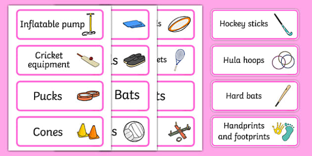 Pink Themed Editable PE Resource Labels - Themed PE label, PE equipment, PE, physical education, PE cupboard, PE, physical development, quoits, cones, bats, balls, Resource Label, Editable Labels, KS1 Labels, Foundation Labels, Foundation Stage Label