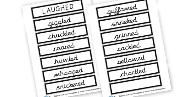 Alternative Words For Laughed - Grammar Activity Primary Resources, grammar aids, activities