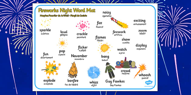 Fireworks Night Romanian Translation - romanian, bonfire night, word mat, fireworks