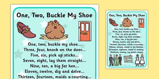 One Two Buckle My Shoe Nursery Rhyme Poster - rhymes, poems