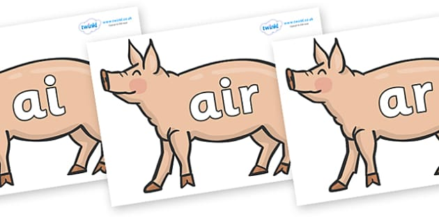 Phase 3 Phonemes on Pig to Support Teaching on Pig in the Pond - Phonemes, phoneme, Phase 3, Phase three, Foundation, Literacy, Letters and Sounds, DfES, display