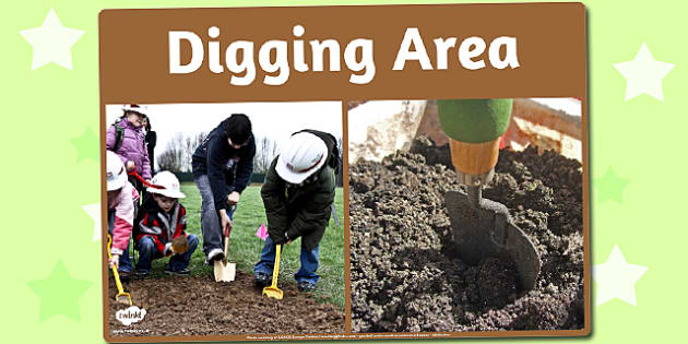 Digging Area Photo Sign - digging, area, photo, sign, display