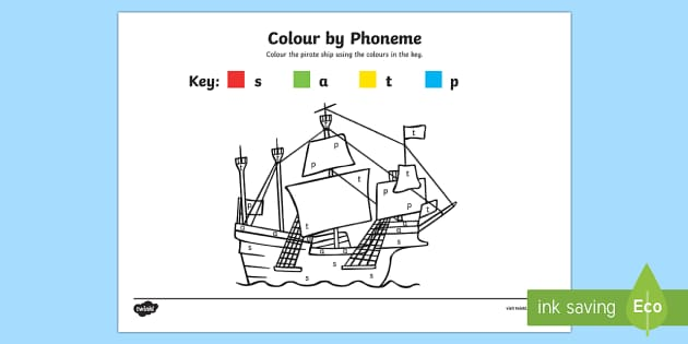 Colour by Phoneme Pirate Ship Phase 2 s a t p - colour, phonemes, pirate ship, phase 2, satpin