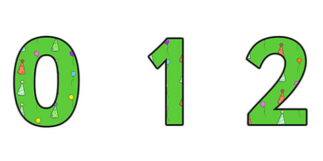 Birthday Themed A4 Display Numbers 3 - Birthday, Birthday Themed, Birthday Display Numbers, A4 Display Numbers, Display Numbers 3