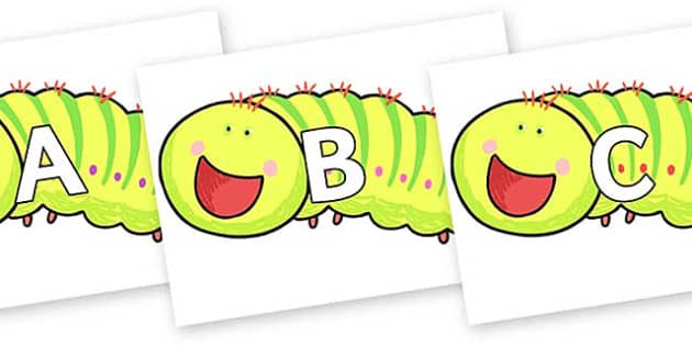 A-Z Alphabet on Crunching Munching Caterpillar to Support Teaching on The Crunching Munching Caterpillar - A-Z, A4, display, Alphabet frieze, Display letters, Letter posters, A-Z letters, Alphabet flashcards