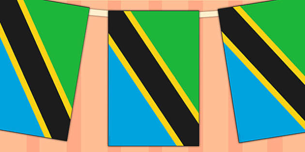 Tanzania Flag Display Bunting - country, geography, commonwealth