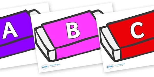 A-Z Alphabet on Erasers - A-Z, A4, display, Alphabet frieze, Display letters, Letter posters, A-Z letters, Alphabet flashcards