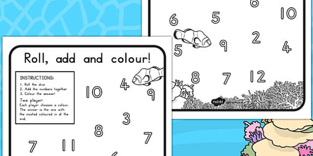 Great Barrier Reef Colour and Roll Worksheet - australia, barrier