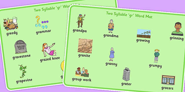 Two Syllable GR Word Mats - two syllable, gr, word mats, word, mats