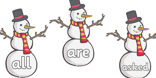 Tricky Words on Snowmen  - Tricky words, snowman, DfES Letters and Sounds, Letters and sounds, skis, ice skates, polar bear, whale, penguin, huskey, snow, winter, frost, cold, ice, hat, gloves