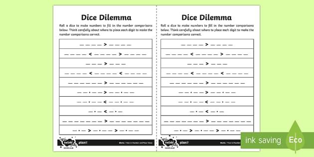 Dice Dilemma Activity Sheet