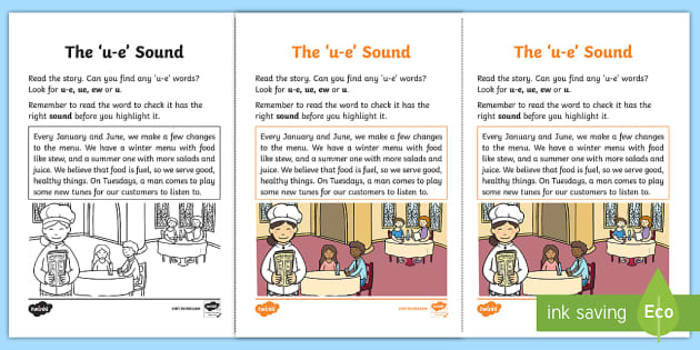 Northern Ireland Linguistic Phonics Stage 5 and 6 Phase 3b, 'u-e' Sound Activity Sheet - Linguistic Phonics, Phase 3b, Northern Ireland, 'u-e' sound, sound search, text, Worksheet