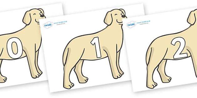 Numbers 0-100 on Dogs - 0-100, foundation stage numeracy, Number recognition, Number flashcards, counting, number frieze, Display numbers, number posters
