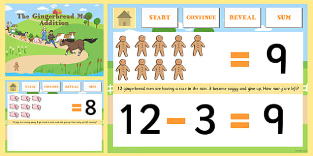 The Gingerbread Man Subtraction to 20 PowerPoint - math, numeracy