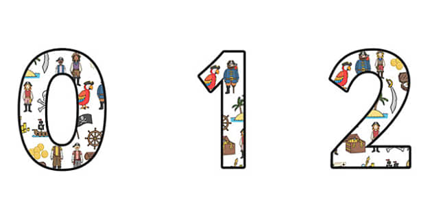 Pirate Themed Display Numbers (Small) - pirates, pirate display numbers, small pirate display numbers, pirate numbers, small pirate numbers, pirate