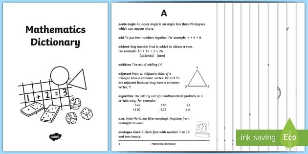 Mathematical Language Dictionary Maths Activity Booklet -  Mathematics, language, definitions, illustrations, language, maths, year 6, year 6, upper primary,