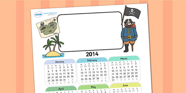 2014 Pirate Themed Editable Calendar - pirate, editable calendar, calendar, editable, themed calendar, dates, photo calendar, themed editable calendar
