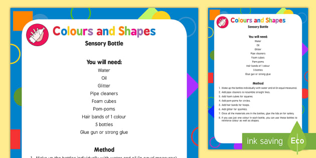 Colours and Shapes Sensory Bottles - colours, shapes, sensory bottle, eyfs, early years