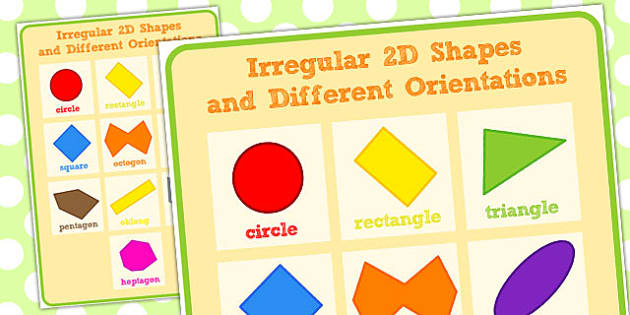 2D Shape Poster Irregular and Different Orientations - shapes, 2d