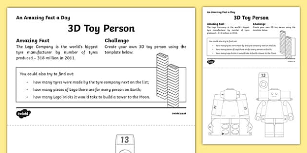 3D Toy Person Paper Model Activity Sheet, worksheet