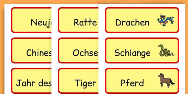 Chinese New Year Topic Word Cards - chinese new year, word cards - German