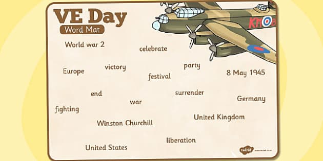 VE Day Word Mat - ve day, word mat, victory, europe, word, mat