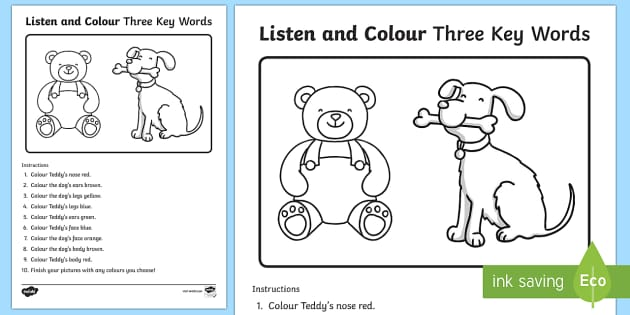 Listen and Colour Three Key Words Activity Sheet - listening, receptive language, ICW, information carrying word, attention, SLCN, language delay, lang